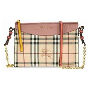 Burberry crossbody bag check leather clutch pink